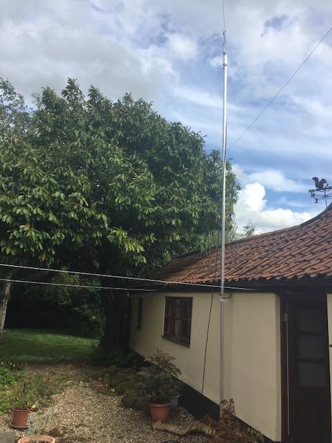 Dipole on a pole, against the sky
