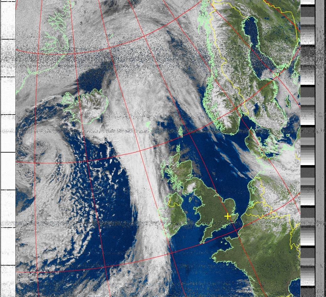 Satellite weather image showing clouds over the UK